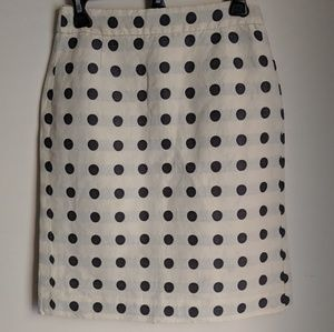 JCrew Polka Dot Linen Blend Lined Pencil Skirt